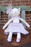 Dancing Ballerina Cat in Purple Polka Dots