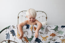 Load image into Gallery viewer, Cotton Muslin Swaddle Blanket - Dino Friends