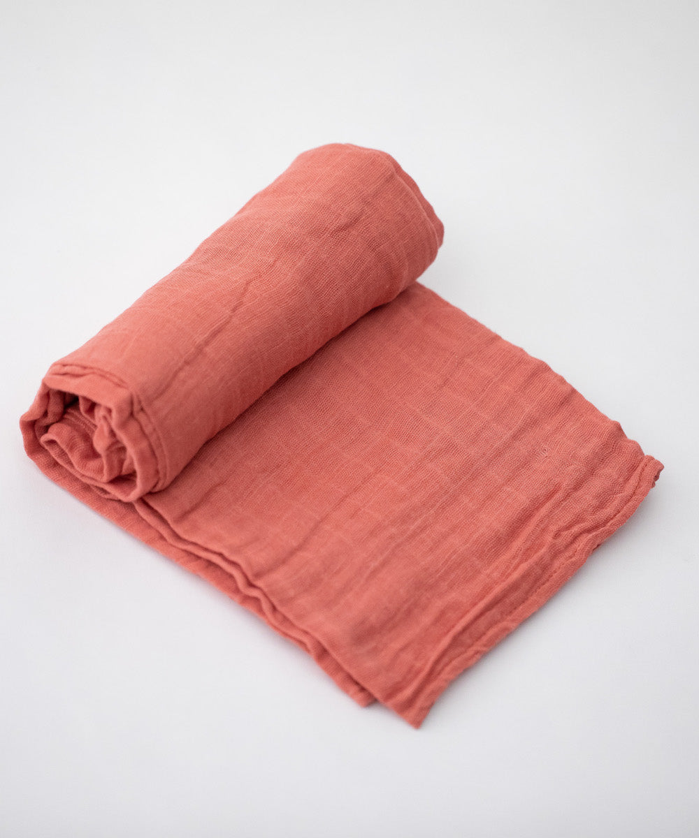 Cotton Muslin Swaddle Blanket- Dusty Rose
