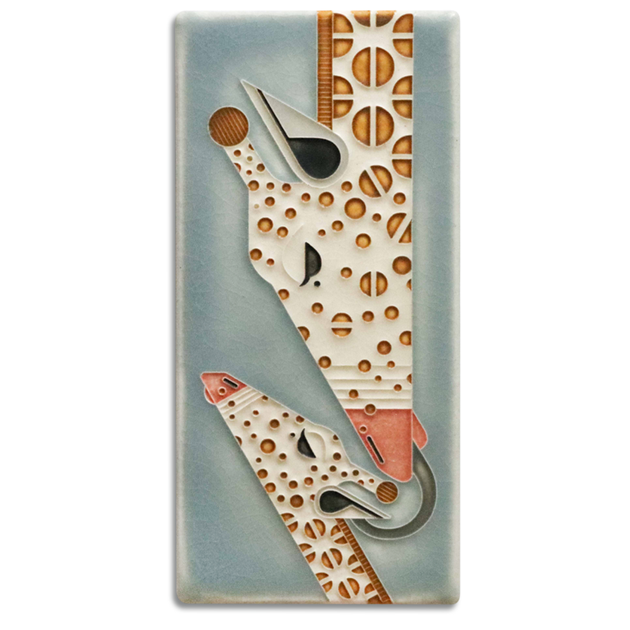 Giraffe and a Half Art Tile- 4x8 Storm Blue