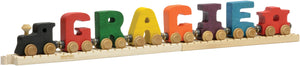 Letter M- Bright Colored Wooden Name Train