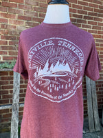 SALE-Maryville, Tennessee- Circle Design w/ Mountains & Sun Tee