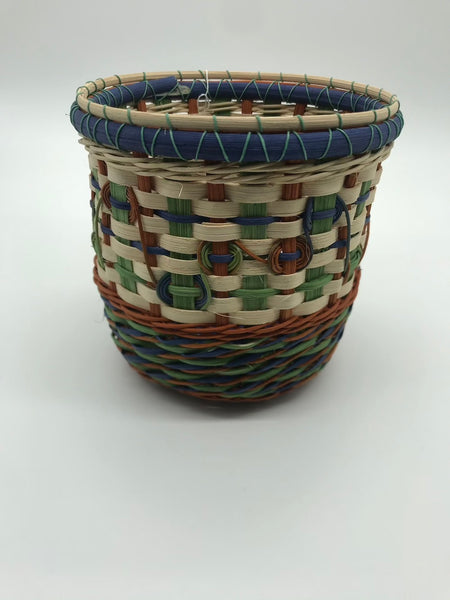 Round Basket with Blue, Green & Rust