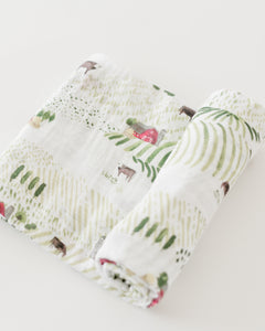 Cotton Muslin Swaddle Blanket - Rolling Hills