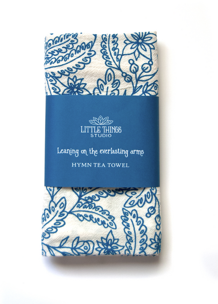 Leaning on the Everlasting Arms- hymn tea towel