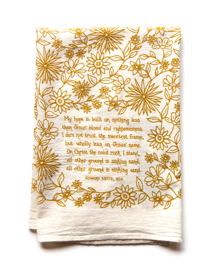 My hope is built- hymn tea towel