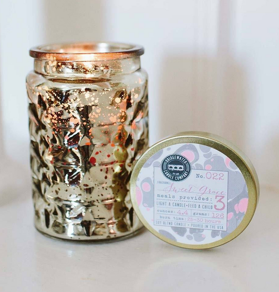Sweet Grace Collection Small Mercury Glass Jar Candle