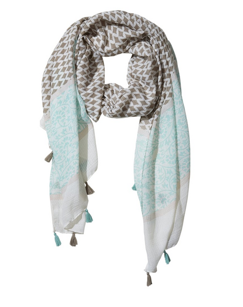 Diamond Fringe Scarf in Teal and Gray