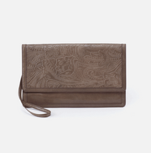 Load image into Gallery viewer, Crest Clutch Wristlet in Embossed Shadow