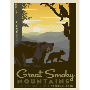 Great Smoky Mountains Mama & Cubs Art Print