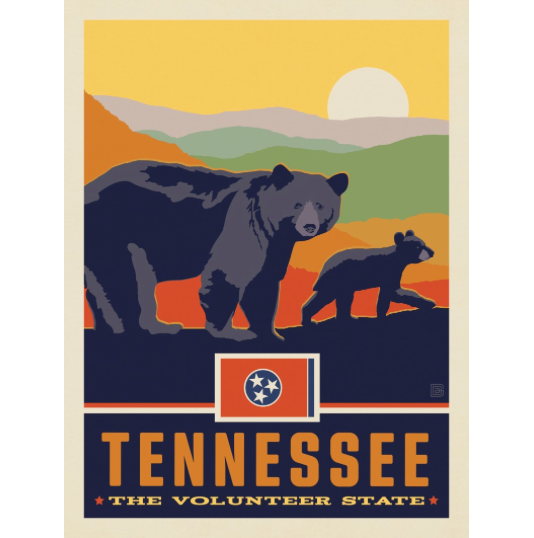 Tennessee State Pride: Black Bears Art Print