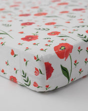 Load image into Gallery viewer, Summer Poppy Cotton Muslin Crib Sheet