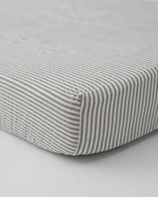 Load image into Gallery viewer, Grey Stripes Cotton Muslin Crib Sheet