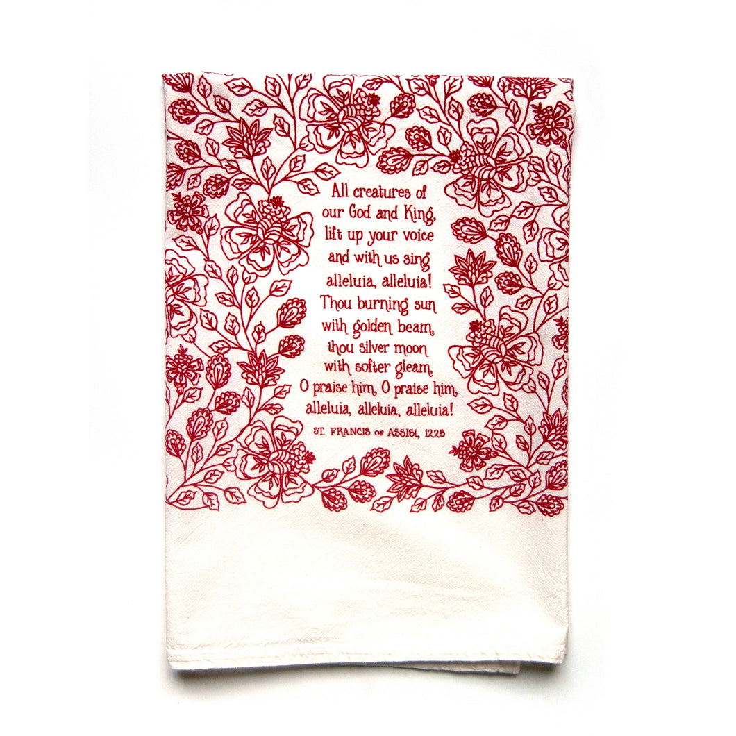 All Creatures Of Our God And King Hymn Tea Towel