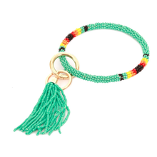 Load image into Gallery viewer, Beaded Wristlet Key Ring with Tassel
