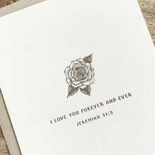 Load image into Gallery viewer, Rose Letterpress card- I love you forever and ever