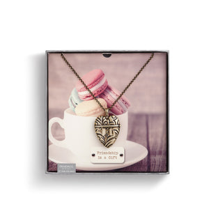 Friendship is a Gift- Heart Pendant