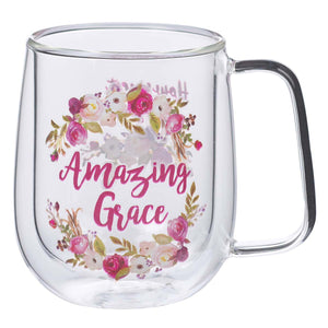 Amazing Grace Double Walled Glass Coffee Mug