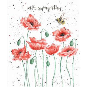 Poppies & Bee Sympathy Card