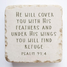Load image into Gallery viewer, Psalm 91:4 Scripture Stone