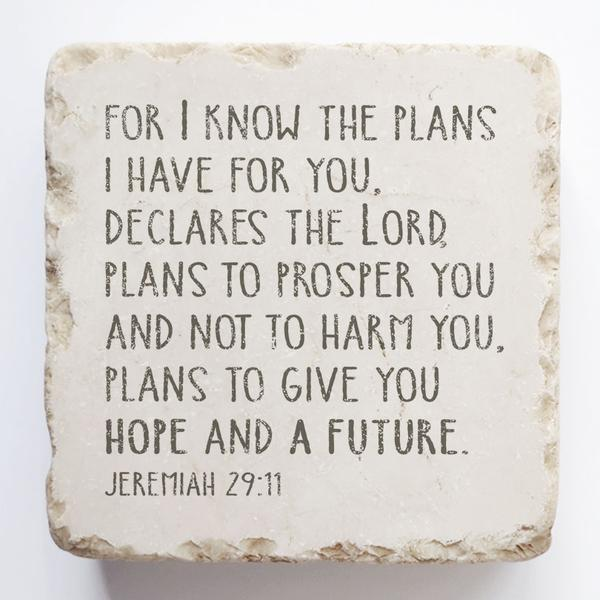 Jeremiah 29:11- For I know the plans I have for you, declares the Lord...