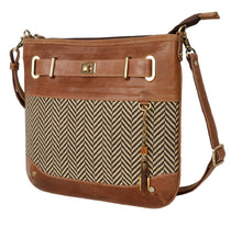 Load image into Gallery viewer, Mercer Upcycled Leather Crossbody in Herringbone