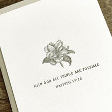 Load image into Gallery viewer, Magnolia Letterpress Card- With God all things are possible