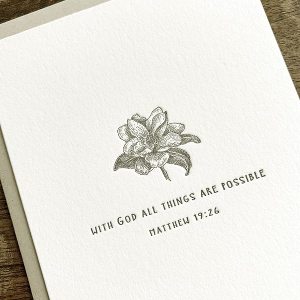 Magnolia Letterpress Card- With God all things are possible