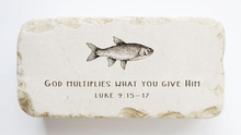 Load image into Gallery viewer, Luke 9:15-17 Stone- God multiplies what you give Him.
