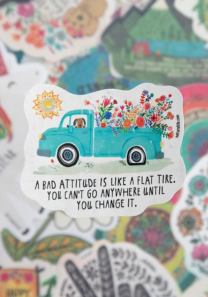 A Bad Attitude Is Like A Flat Tire Vinyl Sticker