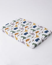 Load image into Gallery viewer, Dino Friends Cotton Percale Crib Sheet
