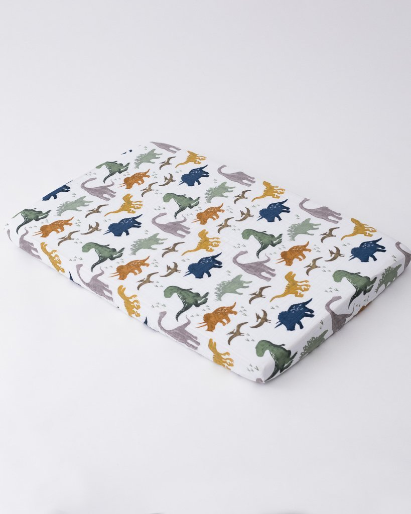 Dino Friends Cotton Percale Crib Sheet