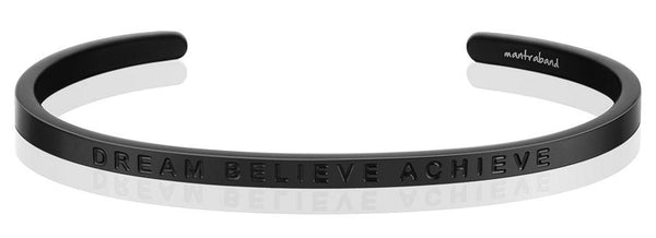 MantraBand Matte Black Dream Believe Achieve Bracelet