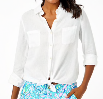 Lilly Pulitzer Sea View Button Down White