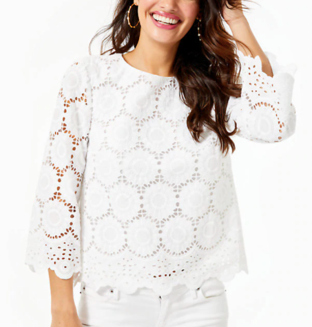 Lilly Pulitzer Mariella Top Resort White Floral Scalloped Eyelet