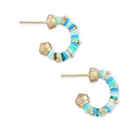 Kendra Scott Reece Huggie Earring Gold Teal Mix