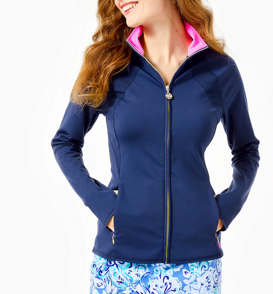 Lilly Pulitzer Tennison Full Zip Jacket True Navy