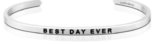 "MantraBand Silver ""Best Day Ever"" Bracelet"