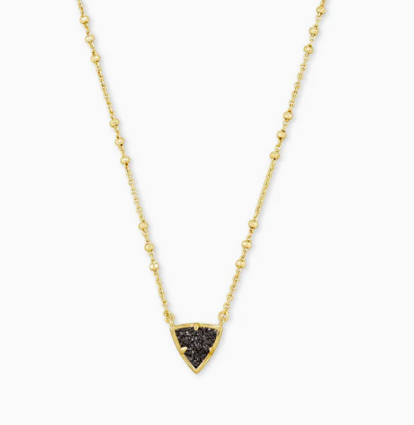 Kendra Scott Perry Necklace in Gold with Black Drusy