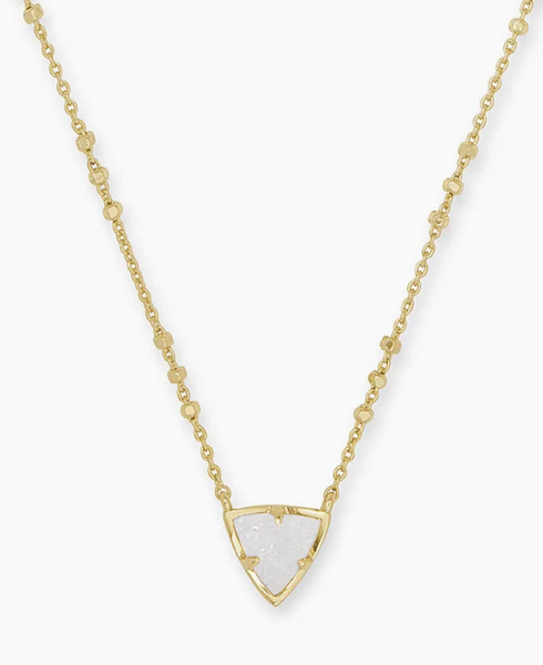 Kendra Scott Perry Short Pendant Necklace in Gold with Iridescent Drusy