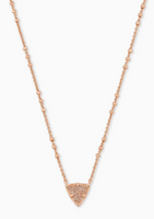 Kendra Scott Perry Short Pendant in Rose Gold with Sand Drusy