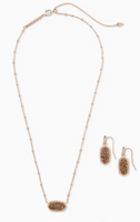 Kendra Scott Elisa Satellite Necklace and Lee Earring in Rose Gold with Rose gold Drusy