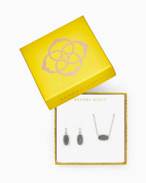 Kendra Scott Satellite Elisa Gift Set with Lee Earring in Rhodium with Platinum Drusy