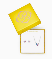Kendra Scott Ari Heart Gift Set with Rhodium Watercolor Illusion
