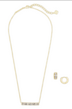 Kendra Scott Jack Pendant and Huggie Set in Gold White Crystal