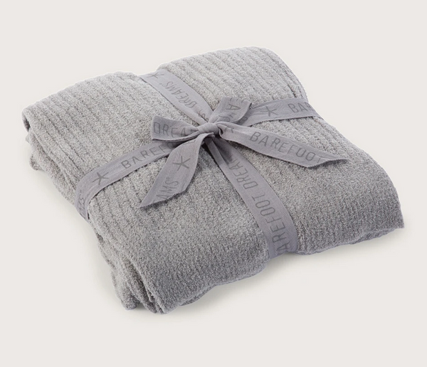 Barefoot Dreams CozyChic Light Ribbed Throw Pewter