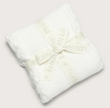"Barefoot Dreams CozyChic Heathered Cable Baby Blanket 30""x32"" White"
