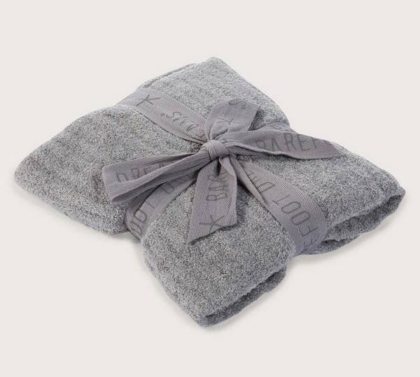 Barefoot Dreams CozyChic Light Ribbed Baby Blanket 30x40 Pewter