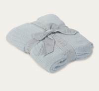 Barefoot Dreams CozyChic Light Ribbed Baby Blanket 30x40 blue