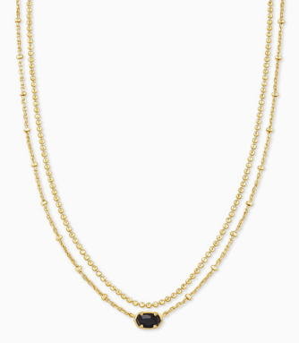 Kendra Scott Emilie Gold Multi strand necklace in black obsidian